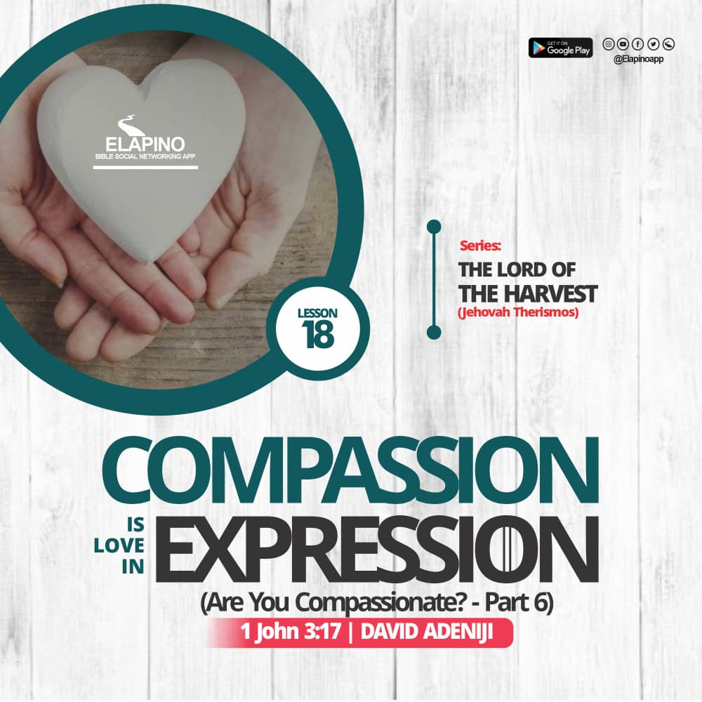 COMPASSION IS LOVE IN EXPRESSION ? | 1 John 3:17 | The Lord Of The Harvest – Lesson 17 | David ADENIJI